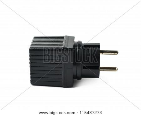 Black plastic adapter isolated