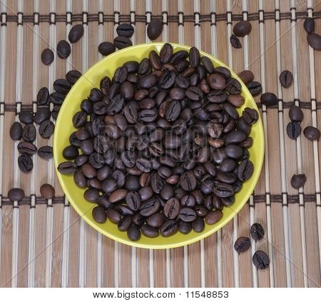 Grains Of Coffee Are In A Saucer