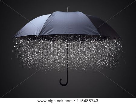 Rain drops falling from inside a black umbrella concept for business and financial problems, challenge or insurance protection poster