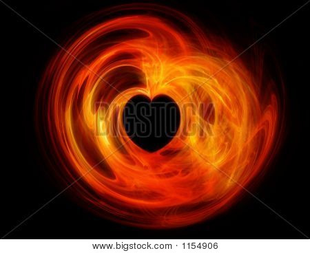 Fractal Heart On Fire