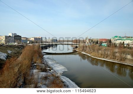 Om River in early spring the city of Omsk Siberia Russia poster