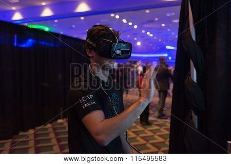 Man Tries Virtual Oculus Rift  Reality Headset