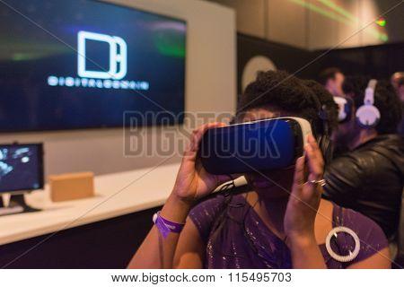 Woman Tries Virtual Reality Headset