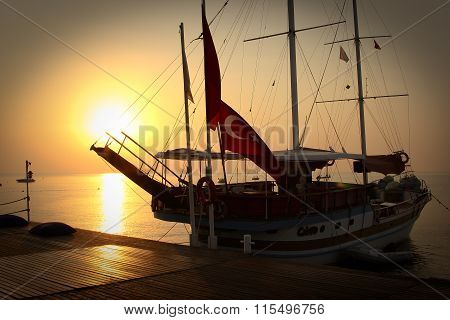 sailing ship on an empty berth