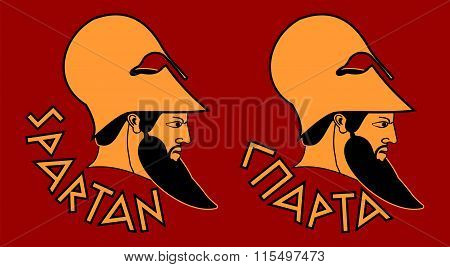 Head of bearded Spartan warrior