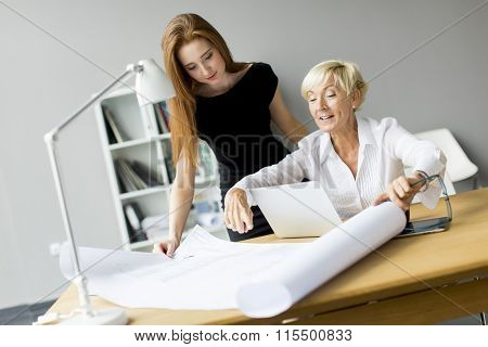 Two women working in the modern office
