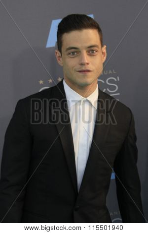 LOS ANGELES - JAN 17:  Rami Malek at the 21st Annual Critics Choice Awards at the Barker Hanger on January 17, 2016 in Santa Monica, CA