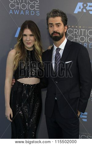 LOS ANGELES - JAN 17:  Lily Rabe, Hamish Linklater at the 21st Annual Critics Choice Awards at the Barker Hanger on January 17, 2016 in Santa Monica, CA