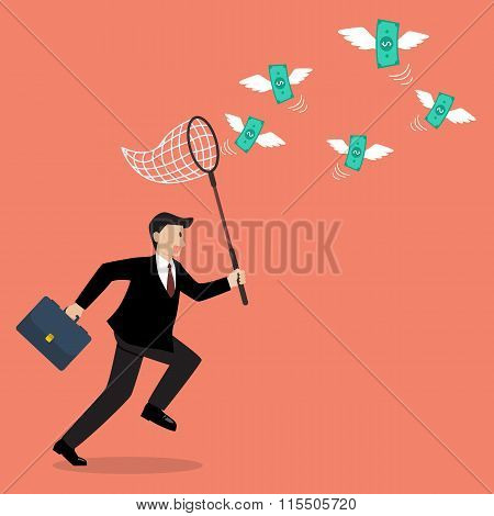 Businessman Trying To Catch Money