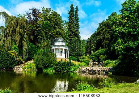 Small lake in the castle garden of Kassel, Germany
