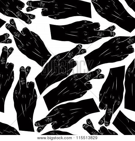 Hands Of Cheaters With Crossed Fingers Seamless Patter, Black And White Vector Background For