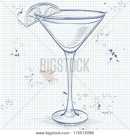 Sidecar cocktail on a notebook page