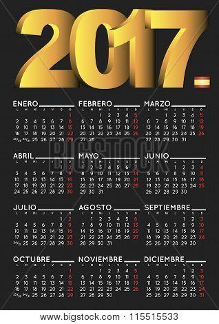 2017 Calendar Spanish Black