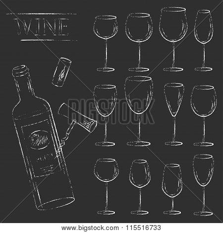 Vector Wine Glasses And Wine Bottle Chalk Illustration