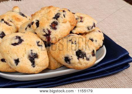Plate Of Blueberry, Almond, Lemon Cookies