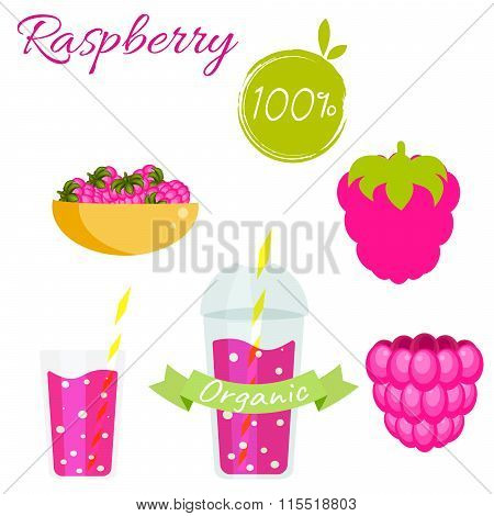 Raspberry Fruit And Smoothie Juice Vector Set.