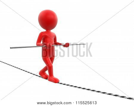 Tightrope Walker. Image with clipping path