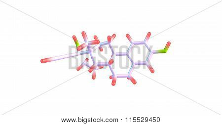 Ethinyl Estradiol Molecule isolated on white