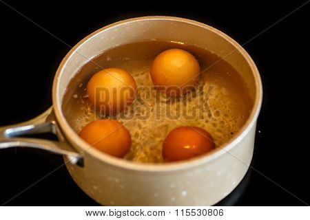 Eggs Are Boiled In Water.