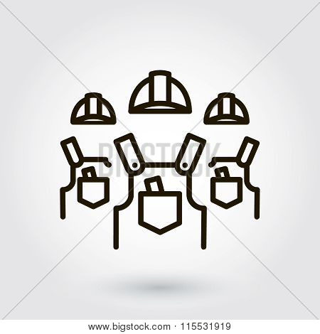 Black flat line vector icon with a picture of a symbol a team of