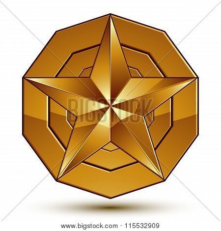 Heraldic Vector Template With Golden Star, Dimensional Royal Geometric Medallion