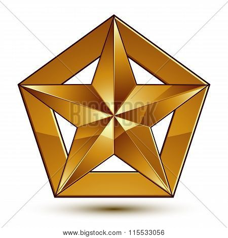 Wonderful Vector Template With Golden Star Symbol, Best For Use In Web And Graphic Design. Heraldic