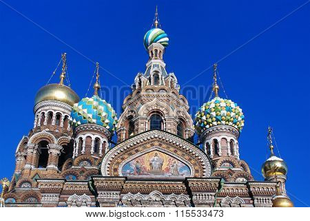 Tops of the Temple of the Resurrection ((Savior-on-Spilled-Blood) in Saint Petersburg