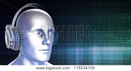 Sound Bites or Bytes with Man on Equalizer Background