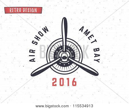 Airplane propeller emblem. Biplane label. Retro Plane badges, design elements. Vintage prints for t