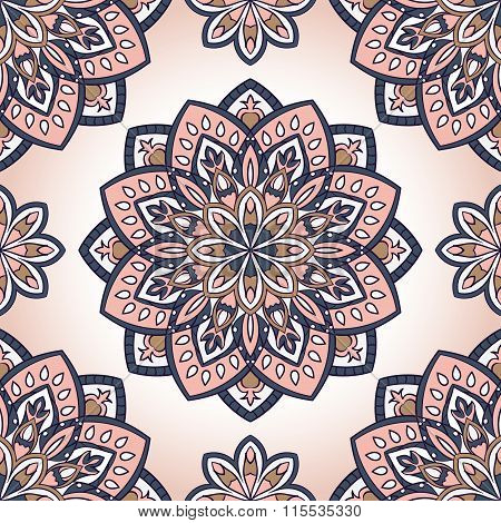 Pink Pattern With Mandalas.