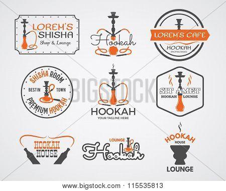 Hookah labels, badges and design elements collection. Vintage shisha logos set. Lounge cafe emblems.