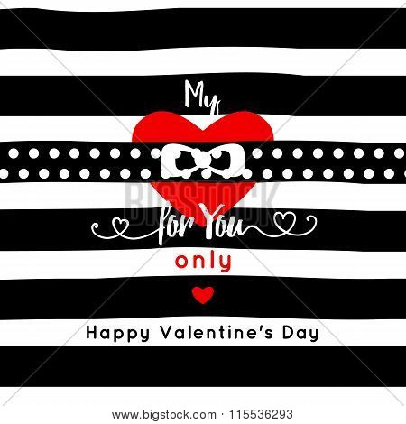 my heart for you only . mesage . red hert and ribbon isolated on stripe background. Valentine's day