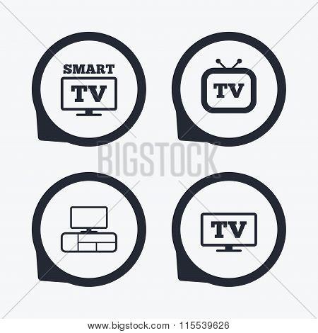 Smart TV mode icon. Retro television symbol.