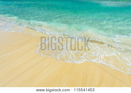 Soft Wave Of The Sea On The Tropical Sandy Beach