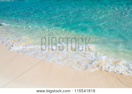 Soft Wave Of The Turquoise Sea On The Sandy Beach. Natural Summer Background With Copy Space. Playa
