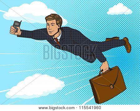 Super hero businessman flying sky pop art vector
