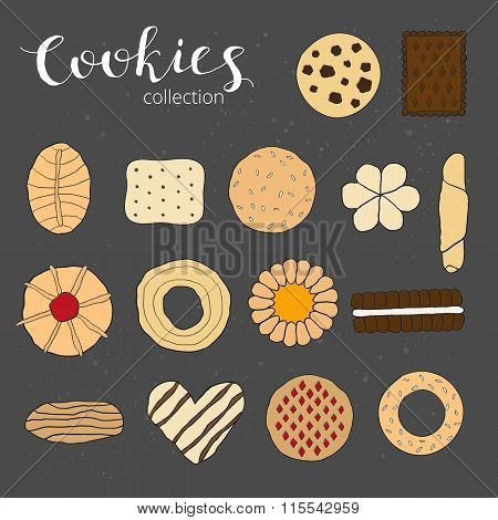 Hand drawn colorful cookies.