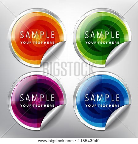 Silver sale stickers with circular design set of 4.