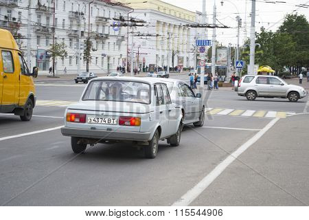 Old German Car On Street Of Vitebsck City, Belarus