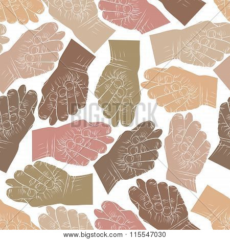 Fig Fico Hands Seamless Pattern, Vector Background For Textile Or Other Designs.