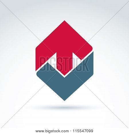 Vector Abstract Emblem With Red Up Arrow - Direction Sign, Pointer. Checkmark Symbol.