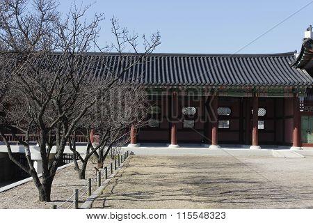 Gyeongbok Palace With Dry Tree In Winter Korea