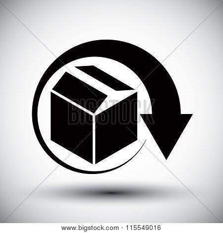 Gift Delivery Conceptual Icon, Simple Single Color New Idea Vector Symbol.