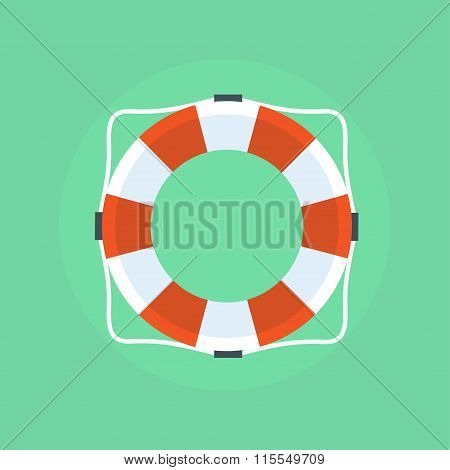 Lifebuoy In Flat Style