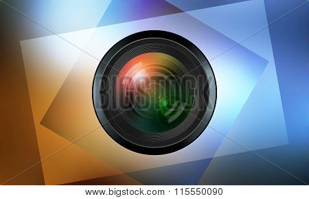 Photographic Lens On Color Background