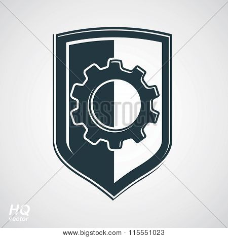 Graphic gear symbol on shield heraldic escutcheon with an engineering design element. Engine