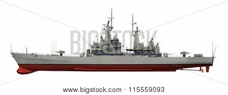 American Modern Warship Over White Background