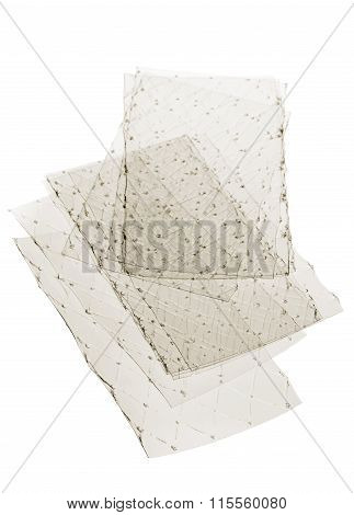 Stacked leaves of gelatine on white background poster