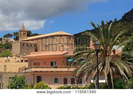 Church of Santa Maria Andratx Majorca and palm trees