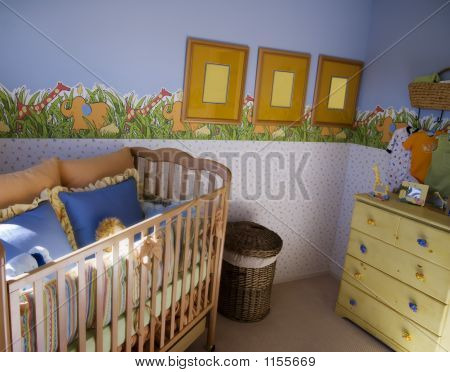interior decor for a nursery includs crib art work has been modified to avoid cr problems. poster